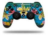 Vinyl Decal Skin Wrap compatible with Sony PlayStation 4 Dualshock Controller Beach Flowers 02 Blue Medium (PS4 CONTROLLER NOT INCLUDED)