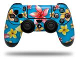 Vinyl Decal Skin Wrap compatible with Sony PlayStation 4 Dualshock Controller Beach Flowers Blue Medium (PS4 CONTROLLER NOT INCLUDED)