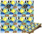 Cornhole Game Board Vinyl Skin Wrap Kit - Tropical Fish 01 Seafoam Green fits 24x48 game boards (GAMEBOARDS NOT INCLUDED)
