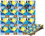 Cornhole Game Board Vinyl Skin Wrap Kit - Tropical Fish 01 Blue Medium fits 24x48 game boards (GAMEBOARDS NOT INCLUDED)