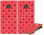 Cornhole Game Board Vinyl Skin Wrap Kit - Nautical Anchors Away 02 Coral fits 24x48 game boards (GAMEBOARDS NOT INCLUDED)