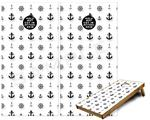 Cornhole Game Board Vinyl Skin Wrap Kit - Nautical Anchors Away 02 White fits 24x48 game boards (GAMEBOARDS NOT INCLUDED)