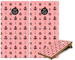 Cornhole Game Board Vinyl Skin Wrap Kit - Nautical Anchors Away 02 Pink fits 24x48 game boards (GAMEBOARDS NOT INCLUDED)
