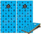 Cornhole Game Board Vinyl Skin Wrap Kit - Nautical Anchors Away 02 Blue Medium fits 24x48 game boards (GAMEBOARDS NOT INCLUDED)