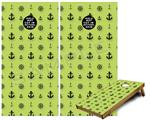 Cornhole Game Board Vinyl Skin Wrap Kit - Nautical Anchors Away 02 Sage Green fits 24x48 game boards (GAMEBOARDS NOT INCLUDED)