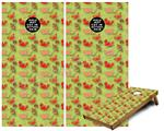 Cornhole Game Board Vinyl Skin Wrap Kit - Crabs and Shells Sage Green fits 24x48 game boards (GAMEBOARDS NOT INCLUDED)