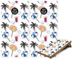 Cornhole Game Board Vinyl Skin Wrap Kit - Beach Party Umbrellas White fits 24x48 game boards (GAMEBOARDS NOT INCLUDED)