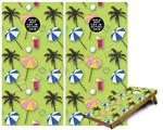 Cornhole Game Board Vinyl Skin Wrap Kit - Beach Party Umbrellas Sage Green fits 24x48 game boards (GAMEBOARDS NOT INCLUDED)