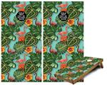 Cornhole Game Board Vinyl Skin Wrap Kit - Famingos and Flowers Seafoam Green fits 24x48 game boards (GAMEBOARDS NOT INCLUDED)