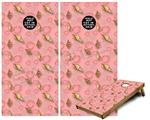 Cornhole Game Board Vinyl Skin Wrap Kit - Sea Shells 02 Pink fits 24x48 game boards (GAMEBOARDS NOT INCLUDED)