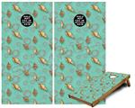 Cornhole Game Board Vinyl Skin Wrap Kit - Sea Shells 02 Seafoam Green fits 24x48 game boards (GAMEBOARDS NOT INCLUDED)