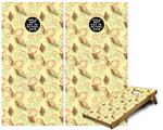 Cornhole Game Board Vinyl Skin Wrap Kit - Sea Shells 02 Yellow Sunshine fits 24x48 game boards (GAMEBOARDS NOT INCLUDED)