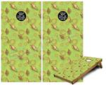 Cornhole Game Board Vinyl Skin Wrap Kit - Sea Shells 02 Sage Green fits 24x48 game boards (GAMEBOARDS NOT INCLUDED)