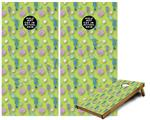Cornhole Game Board Vinyl Skin Wrap Kit - Seahorses and Shells Sage Green fits 24x48 game boards (GAMEBOARDS NOT INCLUDED)