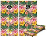 Cornhole Game Board Vinyl Skin Wrap Kit - Beach Flowers 02 Pink fits 24x48 game boards (GAMEBOARDS NOT INCLUDED)