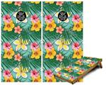 Cornhole Game Board Vinyl Skin Wrap Kit - Beach Flowers 02 Seafoam Green fits 24x48 game boards (GAMEBOARDS NOT INCLUDED)