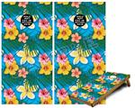 Cornhole Game Board Vinyl Skin Wrap Kit - Beach Flowers 02 Blue Medium fits 24x48 game boards (GAMEBOARDS NOT INCLUDED)