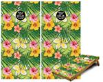 Cornhole Game Board Vinyl Skin Wrap Kit - Beach Flowers 02 Sage Green fits 24x48 game boards (GAMEBOARDS NOT INCLUDED)