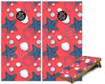 Cornhole Game Board Vinyl Skin Wrap Kit - Starfish and Sea Shells Coral fits 24x48 game boards (GAMEBOARDS NOT INCLUDED)