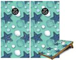 Cornhole Game Board Vinyl Skin Wrap Kit - Starfish and Sea Shells Seafoam Green fits 24x48 game boards (GAMEBOARDS NOT INCLUDED)