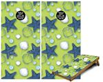 Cornhole Game Board Vinyl Skin Wrap Kit - Starfish and Sea Shells Sage Green fits 24x48 game boards (GAMEBOARDS NOT INCLUDED)