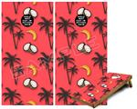 Cornhole Game Board Vinyl Skin Wrap Kit - Coconuts Palm Trees and Bananas Coral fits 24x48 game boards (GAMEBOARDS NOT INCLUDED)