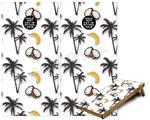 Cornhole Game Board Vinyl Skin Wrap Kit - Coconuts Palm Trees and Bananas White fits 24x48 game boards (GAMEBOARDS NOT INCLUDED)