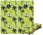 Cornhole Game Board Vinyl Skin Wrap Kit - Coconuts Palm Trees and Bananas Sage Green fits 24x48 game boards (GAMEBOARDS NOT INCLUDED)