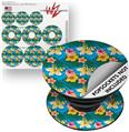 Decal Style Vinyl Skin Wrap 3 Pack for PopSockets Beach Flowers 02 Blue Medium (POPSOCKET NOT INCLUDED)