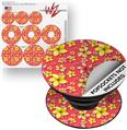 Decal Style Vinyl Skin Wrap 3 Pack for PopSockets Beach Flowers Coral (POPSOCKET NOT INCLUDED)