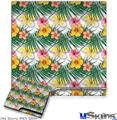 Sony PS3 Slim Decal Style Skin - Beach Flowers 02 White