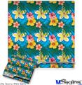 Sony PS3 Slim Decal Style Skin - Beach Flowers 02 Blue Medium