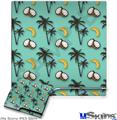 Sony PS3 Slim Decal Style Skin - Coconuts Palm Trees and Bananas Seafoam Green