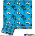 Sony PS3 Slim Decal Style Skin - Coconuts Palm Trees and Bananas Blue Medium