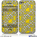 iPhone 4 Decal Style Vinyl Skin - Locknodes 03 Yellow (DOES NOT fit newer iPhone 4S)